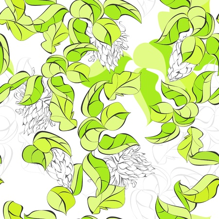 walpaper: Seamless walpaper with green leaves Illustration