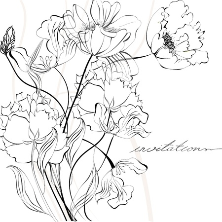 flower drawings: Template for invitation card Illustration