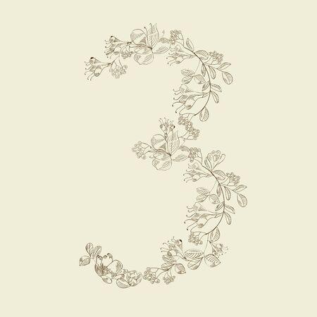 Floral font. Number 3 Vector