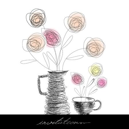 dessin fleur: Tasse � th� et th�i�re � fleurs Illustration