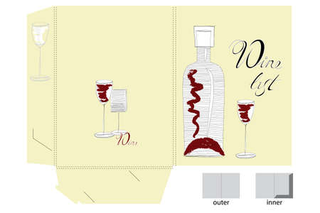 Template for folder design with wine glass and bottle Vector