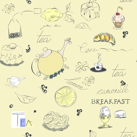 croissants: Seamless background with tea set element