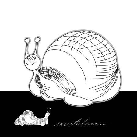 Template for card with funny snail  Vector