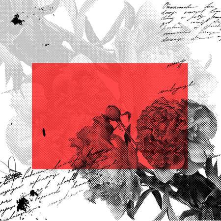 paeony: Stylized grunge background