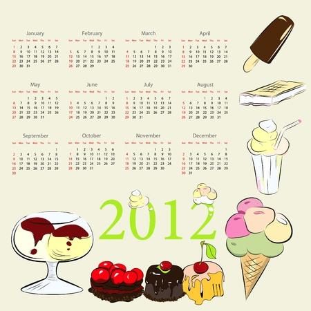 Calendar for twenty twelve with sweets as background Vector