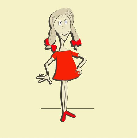 pre teen: Funny girl  Illustration