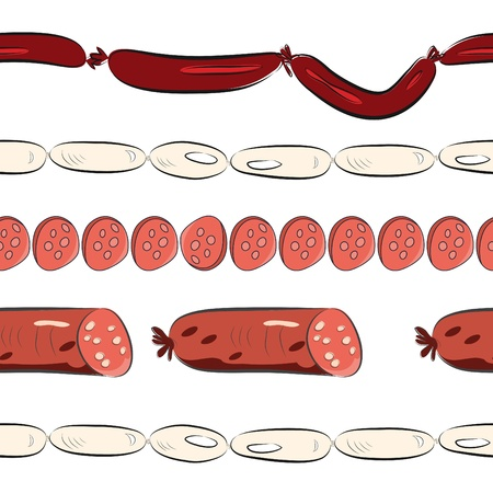 Seamless wallpaper with sausages Vector