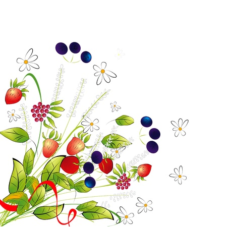 Bunch from flowers and berries  Stock Vector - 9930909