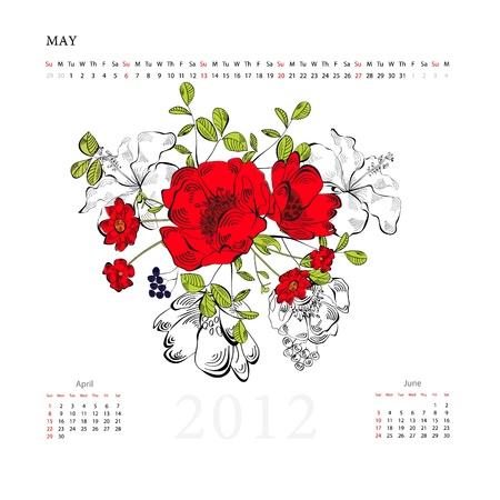 may calendar: Calendar for twenty tweleve, may Illustration