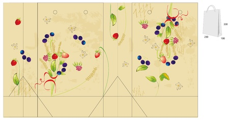 Template for bag with flowers and berry  Vector