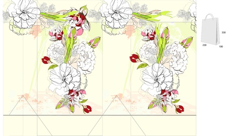 Template for bag with flowers Stock Vector - 9931012