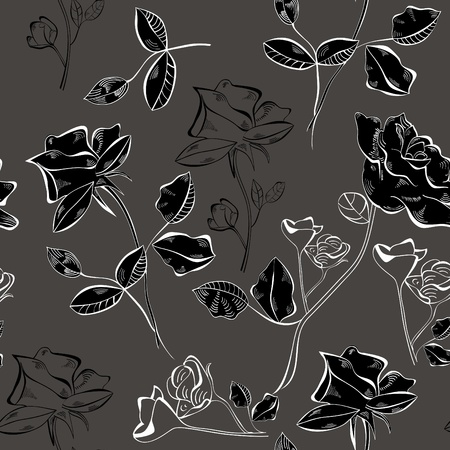 Seamless background with Rose flowers Vector