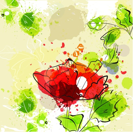 flora: Beautiful flowers on grunge background  Illustration