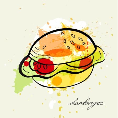 cheeseburger: Stylized illustration hamburger
