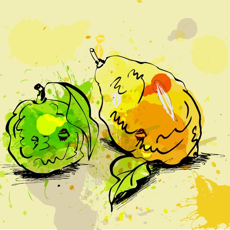 Stylized lime and lemon illustration on grunge background Stock Vector - 10069491