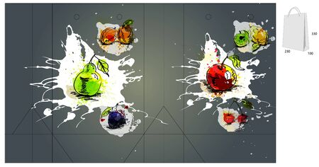 die cut: Template for bag with fruit  Illustration