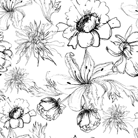 flower sketch: Seamless background with flowers