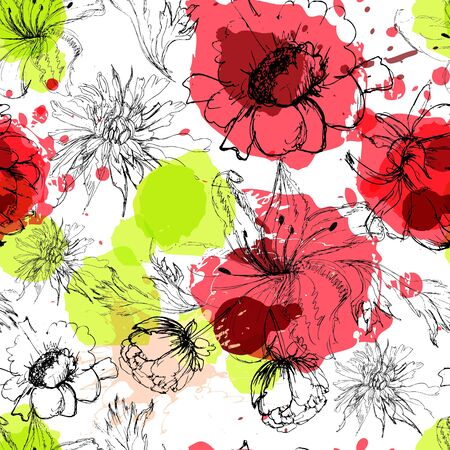 Seamless background with colorful flowers