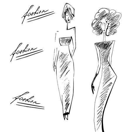 model posing: Elegant silhouette fashion model  Illustration