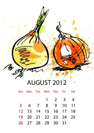 agosto: Calendario con le verdure per il 2012, Agosto Vettoriali
