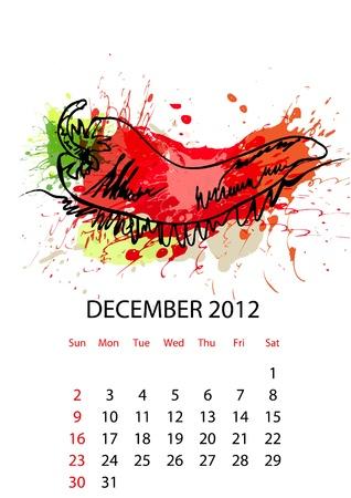 Calendar with vegetables for 2012, december