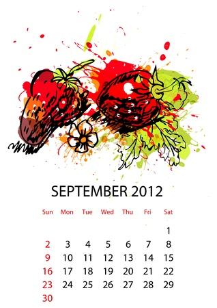 calendario septiembre: Calendario con frutas para 2012, septiembre Vectores