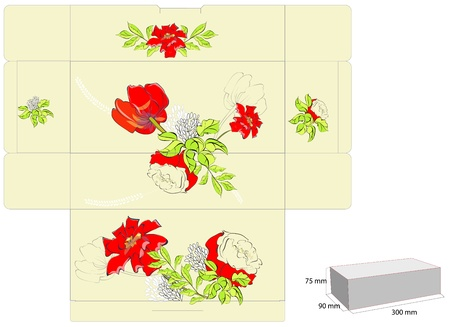 die cut: Stylized template for box with flowers