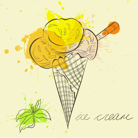 와플: 양식에 일치시키는 그림 아이스크림 일러스트