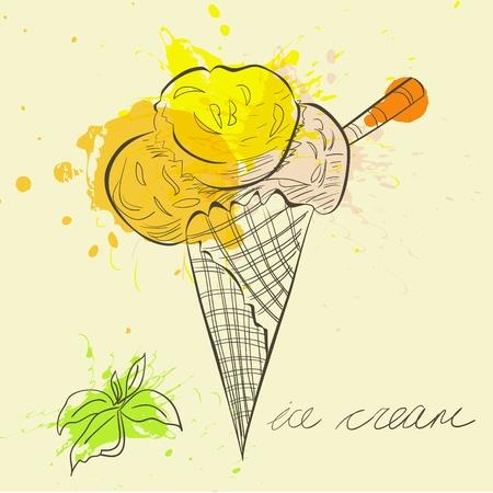 waffle cone: Stylized illustration ice cream