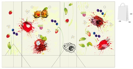 wild strawberry: Template for bag with flowers and berry