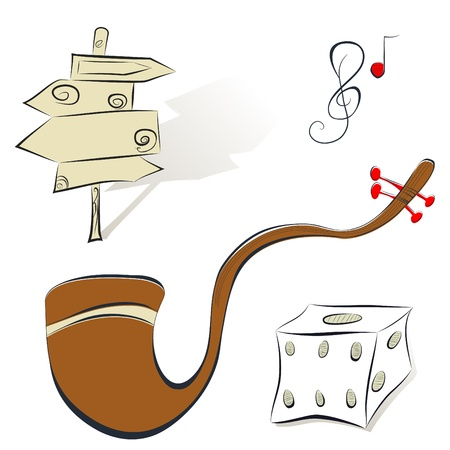 tobacco pipe: Set of illustrations sign, tobacco pipe, dice