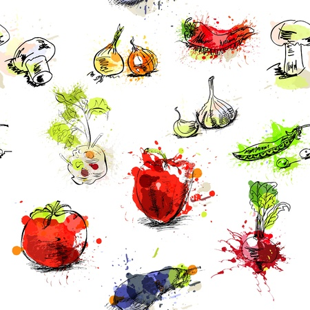 single sketch: Seamless background with vegetables