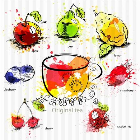 tea garden: A cup of tea with fruit tea