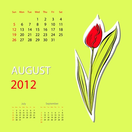 agosto: Calendario per il 2012, Agosto Vettoriali