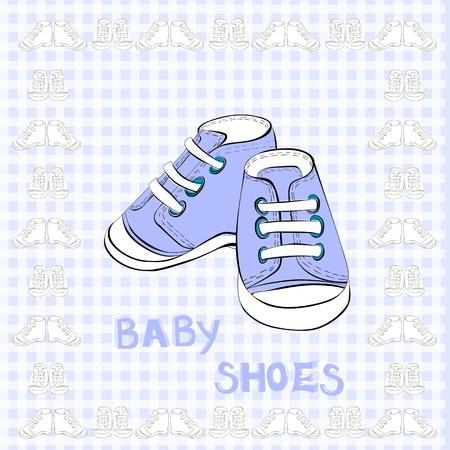 zapatos azules: Ilustraci�n de un calzado par azul  Vectores