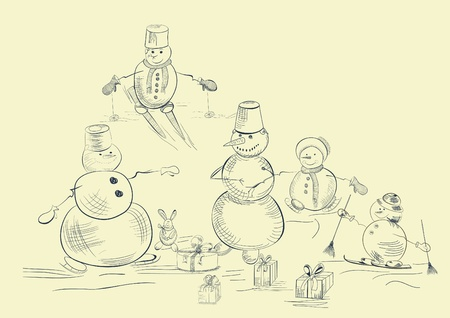 Card with snowmans Vector