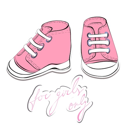 clothes cartoon: Illustration of a pair pink shoes