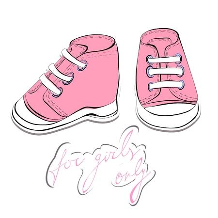 ropa de beb�: Ilustraci�n de un calzado par Rosa  Vectores