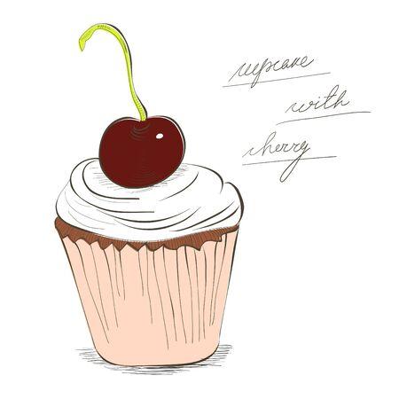 patisserie: Illustrazione di Cupcake con la ciliegia