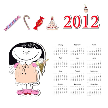 Calendar for 2012 with a small girl Vector