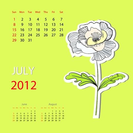 Calendar for 2012, july Vector