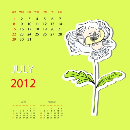 Calendar for 2012, july Vector