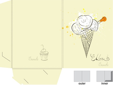 cone cake cone: Template for folder with ice cream Illustration