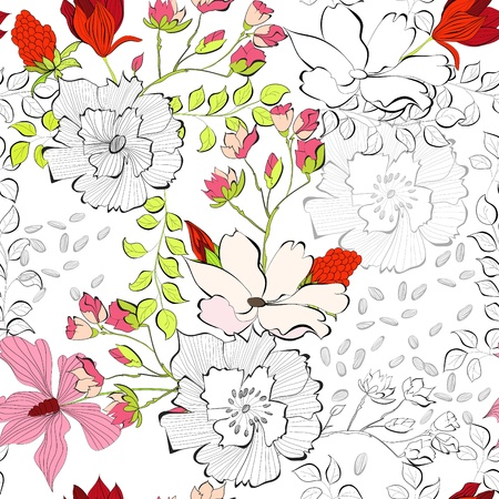 Seamless pattern with decorative flowers  Illustration
