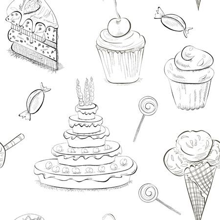 patisserie: Seamless con un sacco di dolci