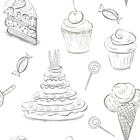 patisserie: Seamless pattern with a lot of sweets Illustration