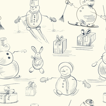 Seamless wallpaper with snowman Vector