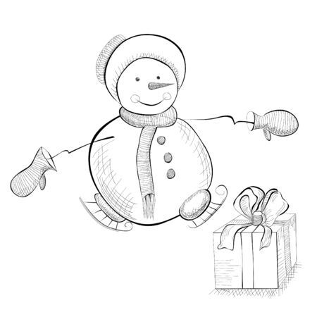 Christmas card with snowman, monochrome illustration Vector