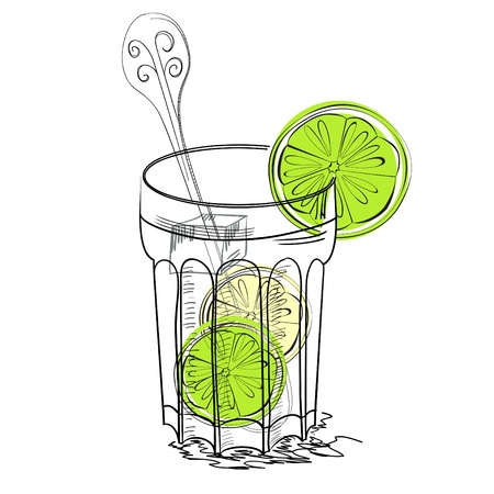 frozen glass: A glass of water with lime Illustration