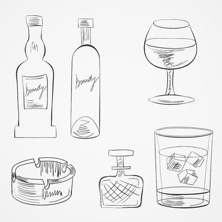 bourbon whisky: Set of glasses and whiskey bottles